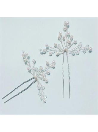 Beautiful Crystal/Imitation Pearls Hairpins (Set of 2)