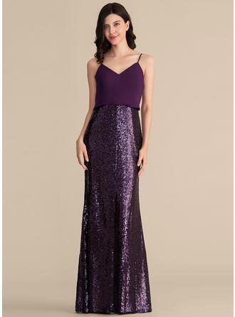 Sheath/Column V-neck Floor-Length Chiffon Sequined Bridesmaid Dress