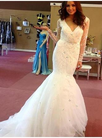 V-neck Trumpet/Mermaid Wedding Dresses Tulle Beading Long Sleeves Court Train