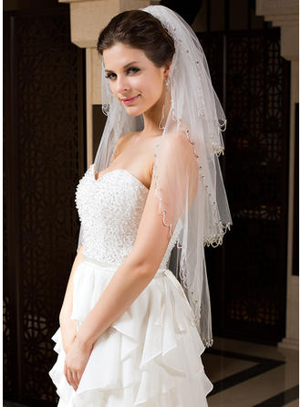 Three-tier Fingertip Bridal Veils With Sequin Trim Edge