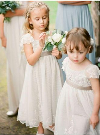 A-Line/Princess Square Neckline Tea-length With Sash Chiffon Flower Girl Dress (010146734)