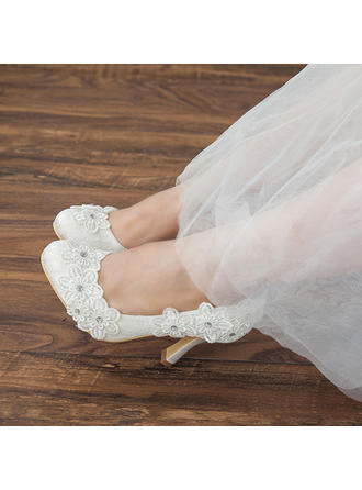 Women's Closed Toe Pumps Stiletto Heel Satin With Applique Wedding Shoes