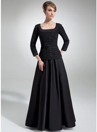 Chiffon Satin 3/4 Sleeves Mother of the Bride Dresses Square Neckline A-Line/Princess Ruffle Beading Sequins Floor-Length
