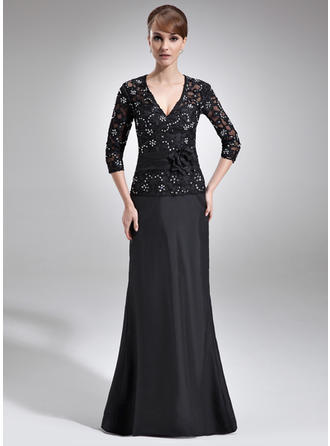 A-Line/Princess Taffeta Lace 3/4 Sleeves V-neck Floor-Length Zipper Up Mother of the Bride Dresses