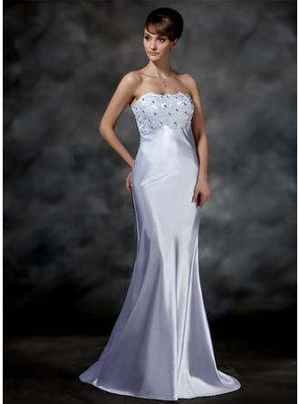 Charmeuse Strapless Sweep Train Glamorous Wedding Dresses