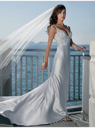 A-Line/Princess V-neck Court Train Wedding Dresses With Sequins
