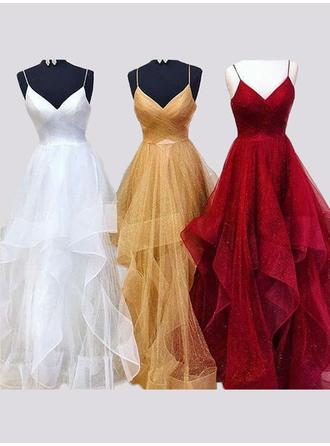 Organza Sleeveless A-Line/Princess Prom Dresses V-neck Ruffle Floor-Length