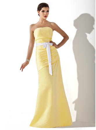 Satin Sleeveless A-Line/Princess Bridesmaid Dresses Strapless Ruffle Sash Bow(s) Floor-Length