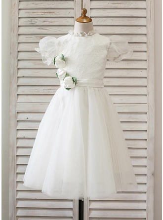 Beautiful Tea-length A-Line/Princess Flower Girl Dresses High Neck Tulle/Lace Short Sleeves