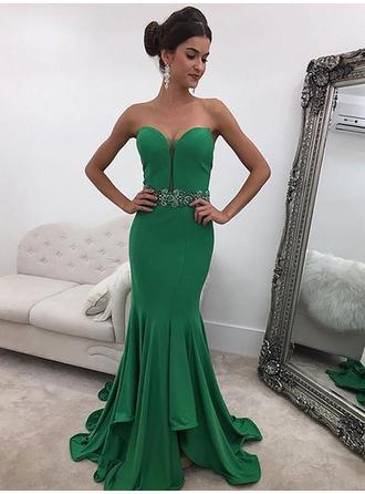 Jersey Sleeveless Trumpet/Mermaid Prom Dresses Sweetheart Ruffle Beading Sequins Sweep Train