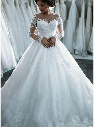 Chic Tulle Wedding Dresses Ball-Gown Cathedral Train Scoop Long Sleeves
