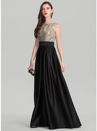 A-Line/Princess Scoop Neck Floor-Length Satin Evening Dress