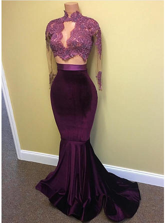 Trumpet/Mermaid High Neck Charmeuse Long Sleeves Sweep Train Lace Beading Sequins Evening Dresses
