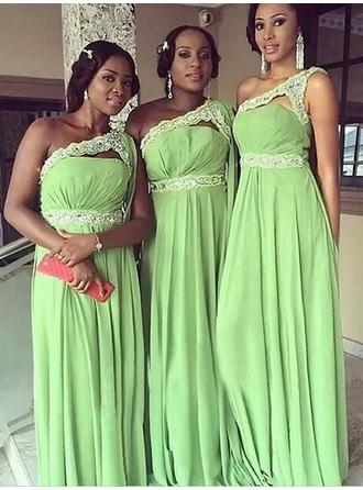 Floor-Length One-Shoulder A-Line/Princess Chiffon Bridesmaid Dresses