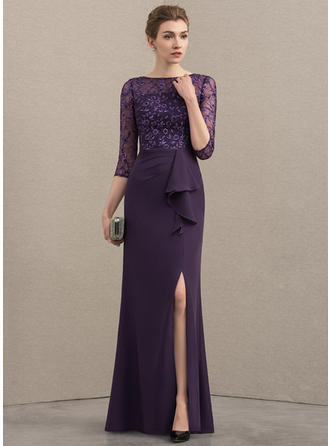 A-Line/Princess Scoop Neck Floor-Length Chiffon Lace Mother of the Bride Dress With Split Front Cascading Ruffles (008152126)