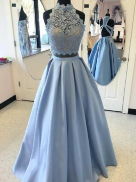 A-Line/Princess High Neck Floor-Length Satin Prom Dresses With Beading Appliques Lace