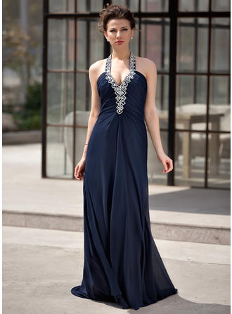 A-Line/Princess Halter Sweep Train Evening Dresses With Ruffle Beading