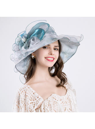 Cotton/Net Yarn With Silk Flower Floppy Hat Elegant Ladies' Hats