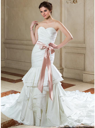 Beautiful Cathedral Train Trumpet/Mermaid Wedding Dresses Sweetheart Taffeta Sleeveless