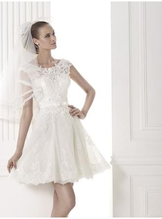 A-Line/Princess Scoop Short/Mini Wedding Dresses With Sash Bow(s)