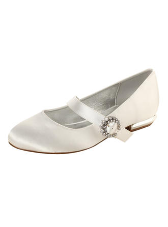 Women's Closed Toe Flats MaryJane Low Heel Silk Like Satin With Buckle Wedding Shoes