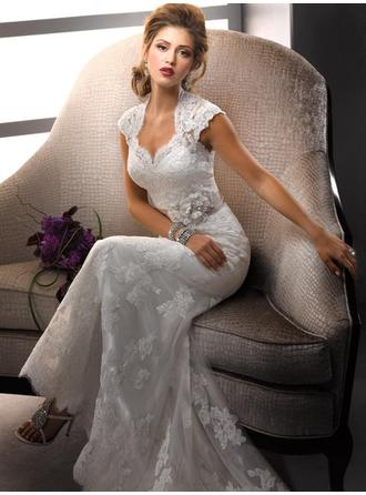 Sheath/Column V-neck Sweep Train Wedding Dresses With Sash Bow(s)
