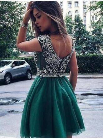 A-Line/Princess Beading Appliques Lace Homecoming Dresses Scoop Neck Sleeveless Short/Mini