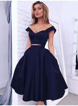 Princess Satin Evening Dresses A-Line/Princess Knee-Length Off-the-Shoulder Sleeveless