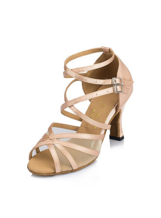 Women's Latin Heels Sandals Satin With Hollow-out Dance Shoes