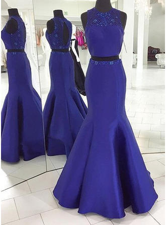 Trumpet/Mermaid Scoop Neck Sweep Train Detachable Prom Dresses With Beading (018212205)