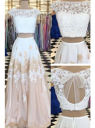 A-Line/Princess Scoop Neck Floor-Length Prom Dresses With Lace Beading Appliques Lace