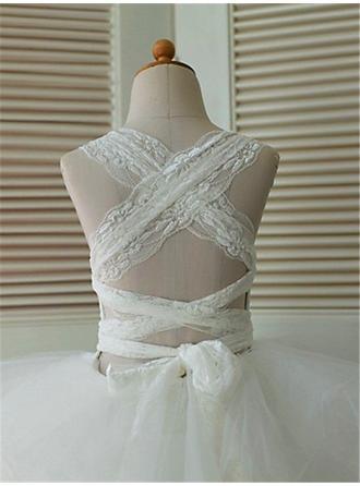 Liebling Knöchellang Duchesse-Linie Blumenmädchenkleider U-Ausschnitt Tüll Ärmellos (010211742)