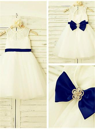 Chic A-Line/Princess Tulle/Lace Flower Girl Dresses Tea-length Scoop Neck Sleeveless