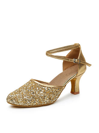 Women's Ballroom Heels Leatherette Sparkling Glitter With Ankle Strap Dance Shoes