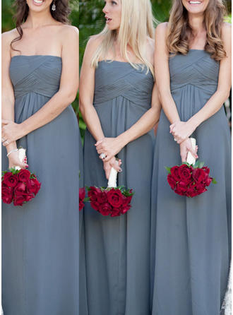 Chiffon Sleeveless A-Line/Princess Bridesmaid Dresses Strapless Ruffle Floor-Length