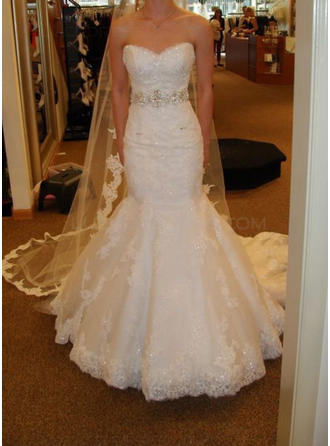 Sleeveless Sweetheart Court Train Tulle Wedding Dresses
