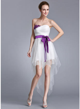 A-Line/Princess Sweetheart Asymmetrical Tulle Prom Dress With Ruffle Sash Beading Appliques Lace Sequins Bow(s)