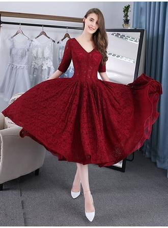 A-Line/Princess V-neck Tea-Length Evening Dress