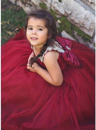 V-neck Floor-length With Sash Tulle Sleeveless Flower Girl Dresses (010216433)