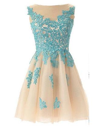 A-Line/Princess Scoop Neck Short/Mini Tulle Prom Dress