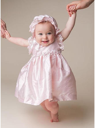 Satin Scoop Neck Flower(s) Baby Girl's Christening Gowns With Short Sleeves