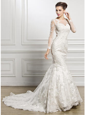 Trumpet/Mermaid Illusion Chapel Train Lace Wedding Dress With Beading Sequins