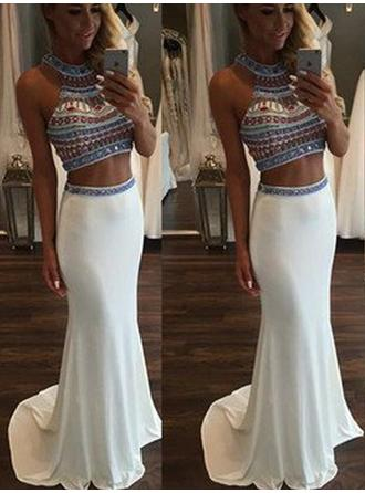 Trumpet/Mermaid Scoop Neck Sweep Train Prom Dresses With Beading