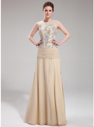 A-Linie/Princess-Linie U-Ausschnitt Bodenlang Abendkleider mit Applikationen Spitze