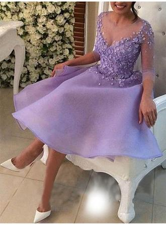 A-Line/Princess Chiffon Cocktail Dresses Beading Appliques Lace Scoop Neck 3/4 Sleeves Knee-Length (016218422)
