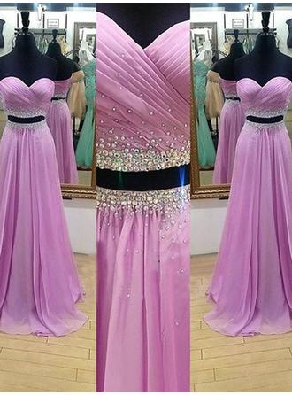 Chiffon Sleeveless A-Line/Princess Prom Dresses Sweetheart Ruffle Beading Sweep Train Detachable