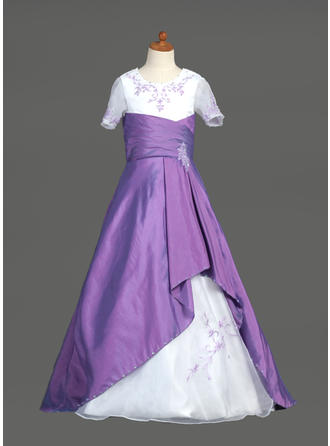 A-Line/Princess Scoop Neck Sweep Train With Ruffles/Beading/Sequins Taffeta/Organza Flower Girl Dress
