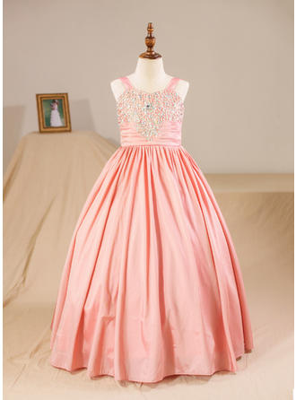 Ball Gown Floor-length Flower Girl Dress - Taffeta Sleeveless Straps With Beading (Petticoat NOT included)