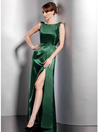 A-Line/Princess Scoop Neck Charmeuse Sleeveless Floor-Length Split Front Evening Dresses