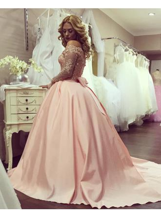 Ball-Gown Off-the-Shoulder Sweep Train Satin Prom Dress With Beading Sequins Bow(s)